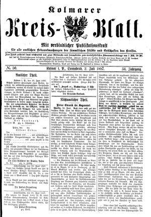 Kolmarer Kreisblatt vom 02.07.1887