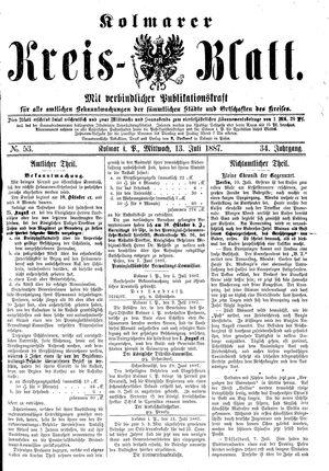 Kolmarer Kreisblatt vom 13.07.1887