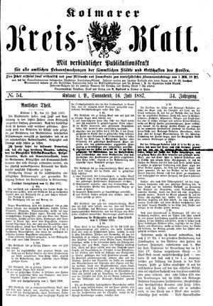Kolmarer Kreisblatt vom 16.07.1887