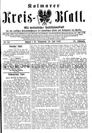 Kolmarer Kreisblatt vom 30.07.1887