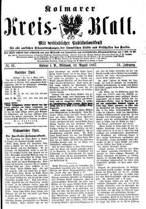 Kolmarer Kreisblatt vom 10.08.1887