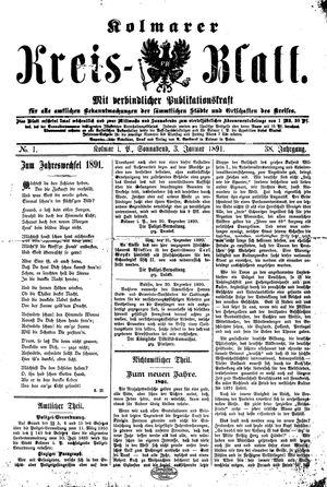 Kolmarer Kreisblatt vom 03.01.1891