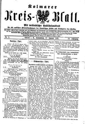 Kolmarer Kreisblatt vom 17.01.1891