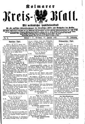 Kolmarer Kreisblatt vom 21.01.1891