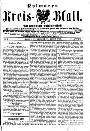 Kolmarer Kreisblatt vom 24.01.1891