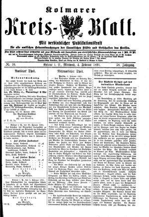 Kolmarer Kreisblatt vom 04.02.1891