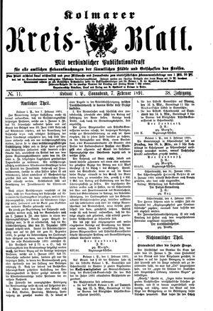 Kolmarer Kreisblatt vom 07.02.1891