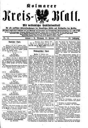 Kolmarer Kreisblatt vom 18.02.1891