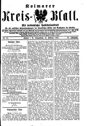 Kolmarer Kreisblatt vom 21.02.1891