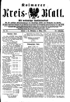 Kolmarer Kreisblatt vom 04.03.1891