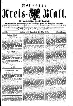 Kolmarer Kreisblatt vom 21.03.1891