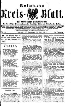 Kolmarer Kreisblatt vom 28.03.1891