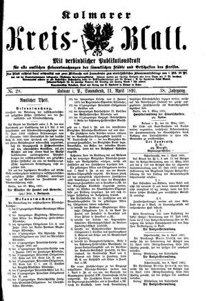 Kolmarer Kreisblatt vom 11.04.1891