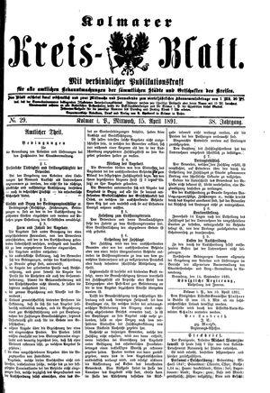 Kolmarer Kreisblatt vom 15.04.1891