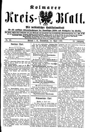 Kolmarer Kreisblatt vom 18.04.1891