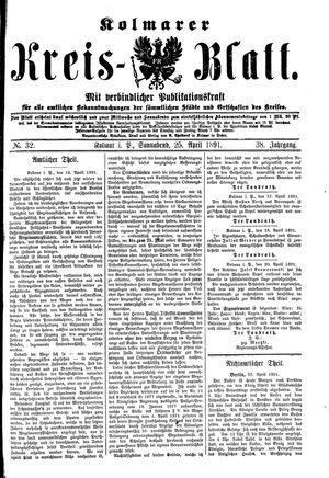 Kolmarer Kreisblatt vom 25.04.1891