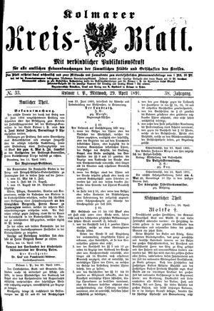 Kolmarer Kreisblatt vom 29.04.1891