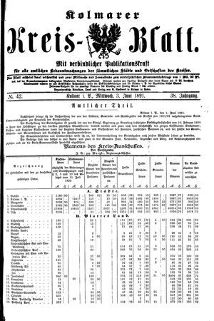 Kolmarer Kreisblatt on Jun 3, 1891