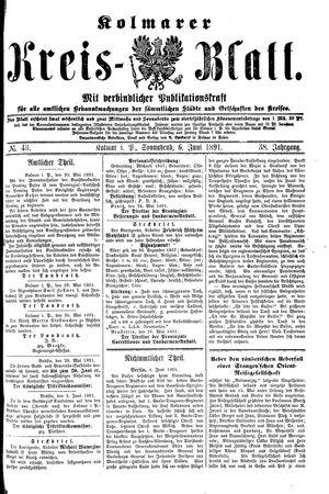 Kolmarer Kreisblatt vom 06.06.1891