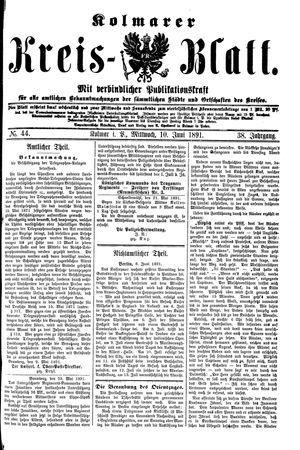 Kolmarer Kreisblatt vom 10.06.1891