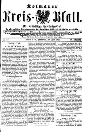 Kolmarer Kreisblatt vom 20.06.1891