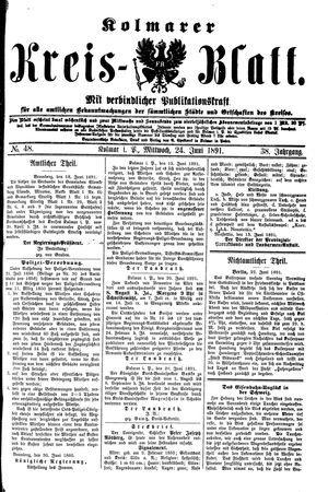 Kolmarer Kreisblatt vom 24.06.1891