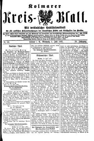 Kolmarer Kreisblatt vom 01.07.1891
