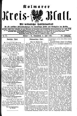 Kolmarer Kreisblatt vom 04.07.1891