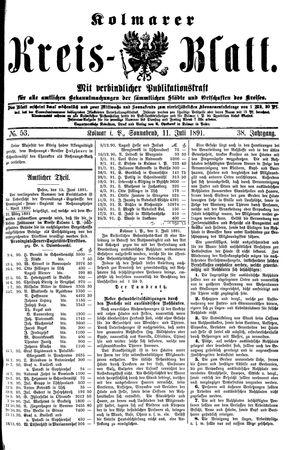 Kolmarer Kreisblatt vom 11.07.1891