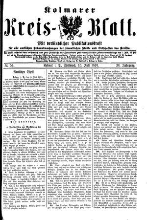 Kolmarer Kreisblatt vom 15.07.1891