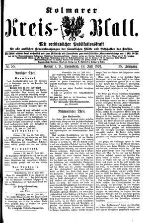 Kolmarer Kreisblatt vom 18.07.1891