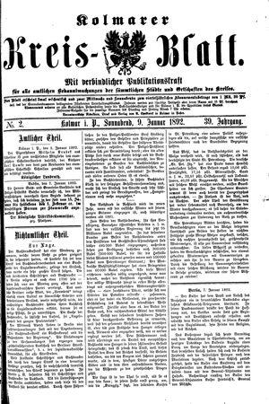 Kolmarer Kreisblatt vom 09.01.1892