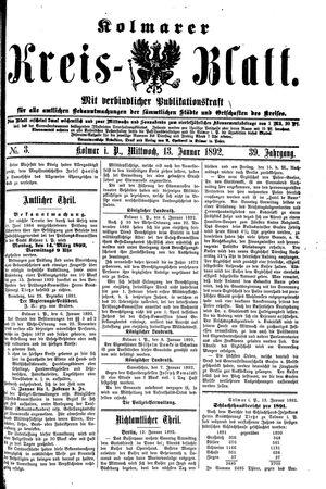 Kolmarer Kreisblatt vom 13.01.1892