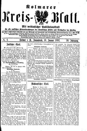 Kolmarer Kreisblatt vom 16.01.1892