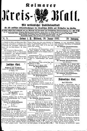 Kolmarer Kreisblatt vom 20.01.1892