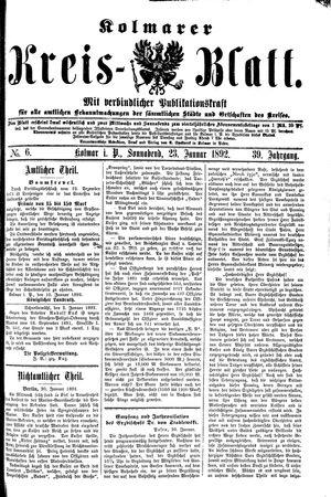 Kolmarer Kreisblatt on Jan 23, 1892