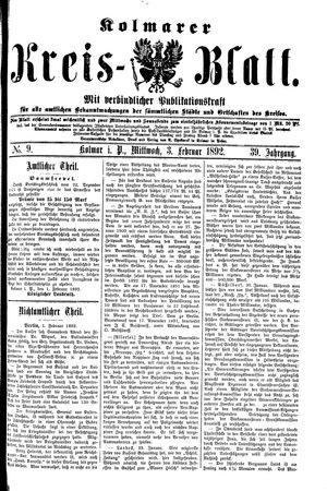 Kolmarer Kreisblatt vom 03.02.1892