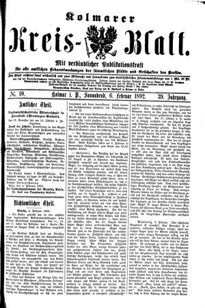 Kolmarer Kreisblatt vom 06.02.1892