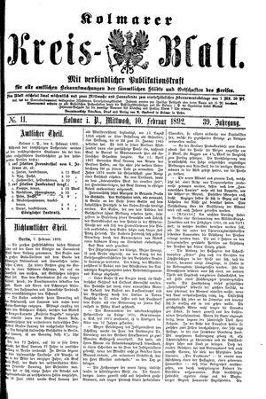 Kolmarer Kreisblatt vom 10.02.1892