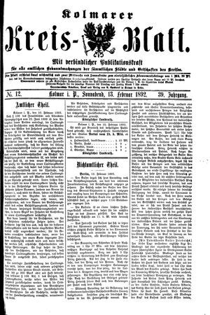 Kolmarer Kreisblatt vom 13.02.1892