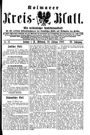 Kolmarer Kreisblatt vom 24.02.1892