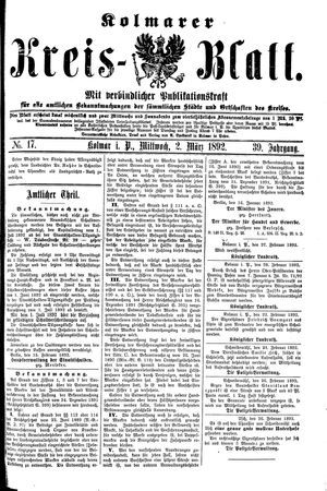 Kolmarer Kreisblatt vom 02.03.1892