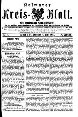 Kolmarer Kreisblatt vom 05.03.1892