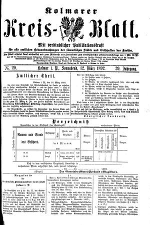 Kolmarer Kreisblatt vom 12.03.1892