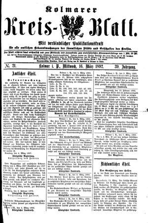 Kolmarer Kreisblatt vom 16.03.1892