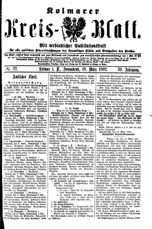 Kolmarer Kreisblatt vom 19.03.1892