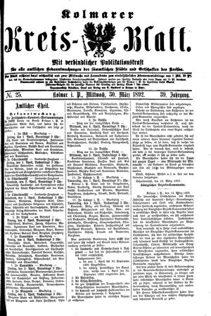 Kolmarer Kreisblatt vom 30.03.1892