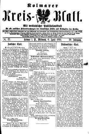 Kolmarer Kreisblatt vom 06.04.1892