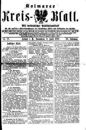 Kolmarer Kreisblatt vom 09.04.1892