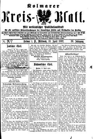 Kolmarer Kreisblatt vom 13.04.1892